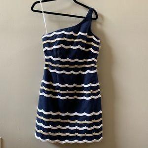 Lilly Pulitzer 4 True Navy One Shoulder Dress